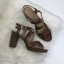 Alfani Brown Chunky Stacked Heel Strappy Sandal 10 M