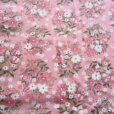250CM X 92CM VINTAGE Cotton Fabric 1950S 1960S Crisp Pink Floral