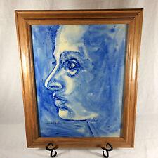 ACRYLIC Painting Blue Woman Profile Portrait Original By Travis Wilson 11x14