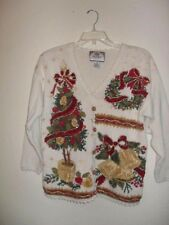 WOMEN'S SIZE M TIARA PETITES UGLY OFF WHITE CHRISTMAS SWEATER HOLIDAY  TACKY