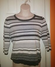 Gray & White Striped Knit Top blouse shirt L large women ladies teen girl 3/4 sl