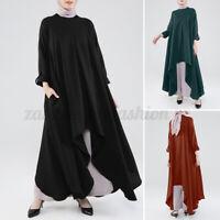 ZANZEA Women Long Sleeve Round Neck Tops Shirt Asymmetrical Waterfall Blouse NEW