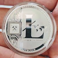 Physical Litecoin/LTC High-Polished, Silver-Plated In Collector Case USA BT