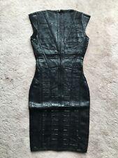 Black Faux Leather Bandage Dress - Small / 2 US