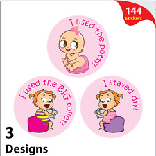 144 x Girls Potty Training Reward Stickers Mixed Pink Toilet Learning Reward