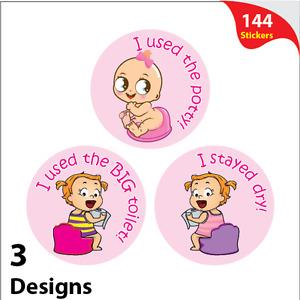 144 x Girls Potty Training Reward Stickers Mixed Pink Toilet Learning Reward