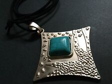 Bijoux long suede statement necklace with light gold and turquoise pendant