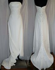 EDEN BRIDALS Ivory Beaded Embroidered Strapless Wedding Gown Dress W/ Train Sz 6