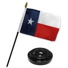 "Texas State 4""x6"" Flag Desk Set Table Stick Black Base"