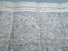 Militärkarte Herbstmanöver XII. (1.K.S.) Armeekorps 1904 Dresden Löbau Ruhland