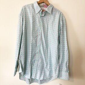 Robert Graham Mens Size 3XL Blue Patterned Long Sleeve Button Up