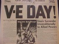 VINTAGE NEWSPAPER HEADLINE~WORLD WAR 2 NAZI GERMANY SURRENDERS V-E DAY WWII 1945