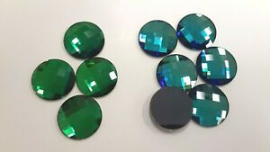 10 swarovski crystal chessboard circle flatbacks,20mm bermuda blue,green sphinx