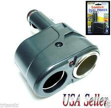 DUAL OUTLET SOCKET AUTO CIGARETTE LIGHTER 12-24V DC POWER PLUG ADAPTER SPLITTER