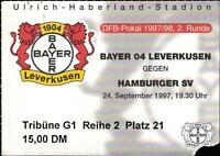 Ticket DFB-Pokal 97/98 Bayer 04 Leverkusen - Hamburger SV, 24.09.1997