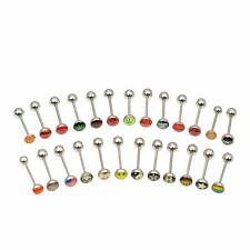 25 Tongue Rings Barbells Straight Bars Logo No Duplicate Surgical Steel 14g