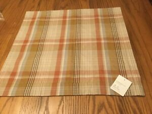 "Pottery Barn PUMPKIN PLAID Pillow Cover 20"" Fall Autumn Harvest Thanksgiving NEW"