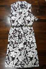 DRESS-NINA LEONARD--SIZE 6--BROWN/WHITE FLORAL--COTTON/SPANDEX-WASHABLE-NEW-$128