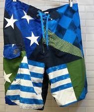 Costa Brava Blue Green White Flag Print Swim Trunks Shorts Drawstring Size Large