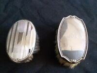 Sterling Silver .925 Pair Antique Baby Brushes-3 1/4 x 2 and 3 x 2 Inches