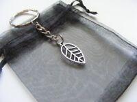 Leaf Keyring - Tibetan Silver Charm Keyring & Gift Bag