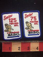 Vtg SENIOR ABC 75 & 125 PIN OVER AVERAGE Bowling Patch 76BB