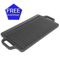 Ozark Trail Small Cast Iron Griddle Reversible 17 x 9 in Steak Stove Top Fry