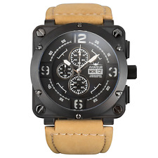New Infantry Men's AVR-003-BLK-L Aviator Night Vision Brown Leather Watch