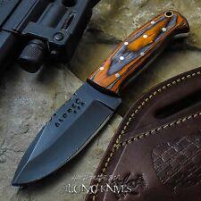 ALONZO KNIVES USA CUSTOM HANDMADE TACTICAL NECK 1095  KNIFE PAKKA WOOD 18878