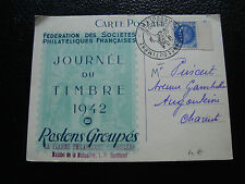 FRANCE - carte 1er jour 19/4/1942 (journee du timbre) (cy54) french (E)