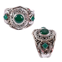 Ancient Victorian Sterling Silver Bracelet Bangle Cuff Jade Gypsy Bohemian