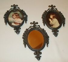Vintage Italian Metal Wall Hangings - Set of 3, Two Girls & Mirror, Alloy, 1486