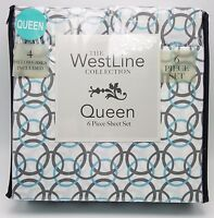 Queen Sheet Set Blue Gray White Ring Design 6 pc Soft Easy Care New