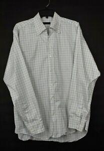 Equilibrio Italia Mens White Graph Check Long Sleeve Button-Down Dress Shirt L