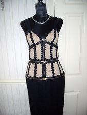 ALEXANDER McQUEEN DESIGNER BLACK & FLESH TONE COCKTAIL DRESS SIZE 44 (size12)