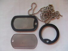 Two x US USA Army Military Style Silver Colour Dog ID Tags & Rubber Silencers