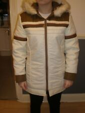 womens vintage cream & brown coat with hood sears sports centre medium with zip