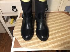 Ann Taylor Loft Size 6.5M Black pull on Ankle buckle strap Boots Womens Booties