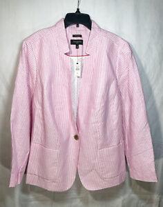 Talbots Aberdeen Blazer Size 18W Womens Plus Size Jacket Pink Stripe New Linen
