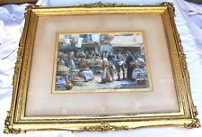 "Antique Trevor Haddon (1864-1941) Signed Watercolor ""Market Scene"""
