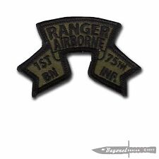 "OD Green, Wax Backed- Old Style US 1st Ranger Battalion Scroll - 3 1/4"" x 2 1/8"""