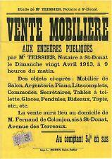 DROME - ST DONAT SUR L'HERBASSE - AFFICHE AVEC TIMBRE FISCAL - 20-4-1913.