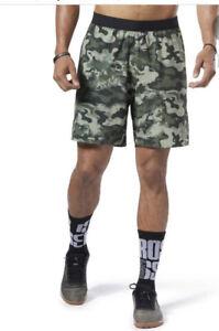 Reebok Mens CrossFit Games Training Speed Shorts Camo Stretch Large