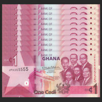 Lot 10 PCS, Ghana 1 Cedi, 2019, P -NEW, UNC