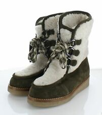 23-50 NEW $595 Women's Sz 8 M Aquatalia Wynter Suede & Shearling Platform Boot