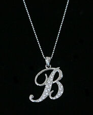 """""""B"""" LETTER INITIAL ALPHABET PENDANT CHARM NECKLACE CLEAR CRYSTALS LARGE SILVER T"""