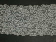 """White stretch lace trimming fabric scalloped bridal material By the yard x 5"""""""