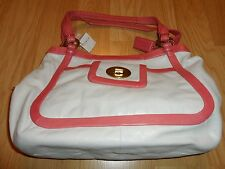 COACH CRICKET LEATHER LARGE SATCHEL BAG 13602 PINK CORAL WHITE ESTEE LAUDER CASE