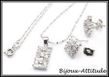 Parure KACIE plaquée or blanc 18K et diamants cz NEUF
