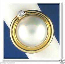 14MM Japanese Mabe Pearl Ring w/Diamond; 14K Yellow Gold; 7.9 Grams, Size 7